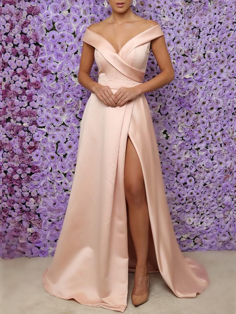 Off Shoulder High Split Evening Dress Online Discover