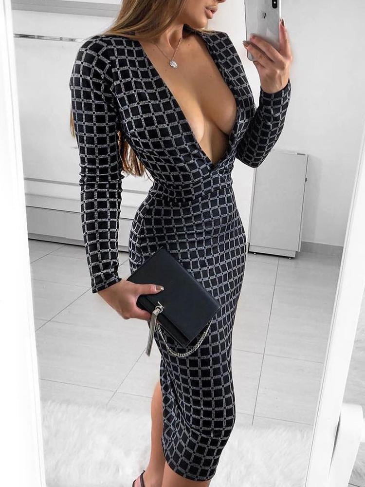 boutiquefeel / Deep V-Neck Grid Bodycon Midi Dress