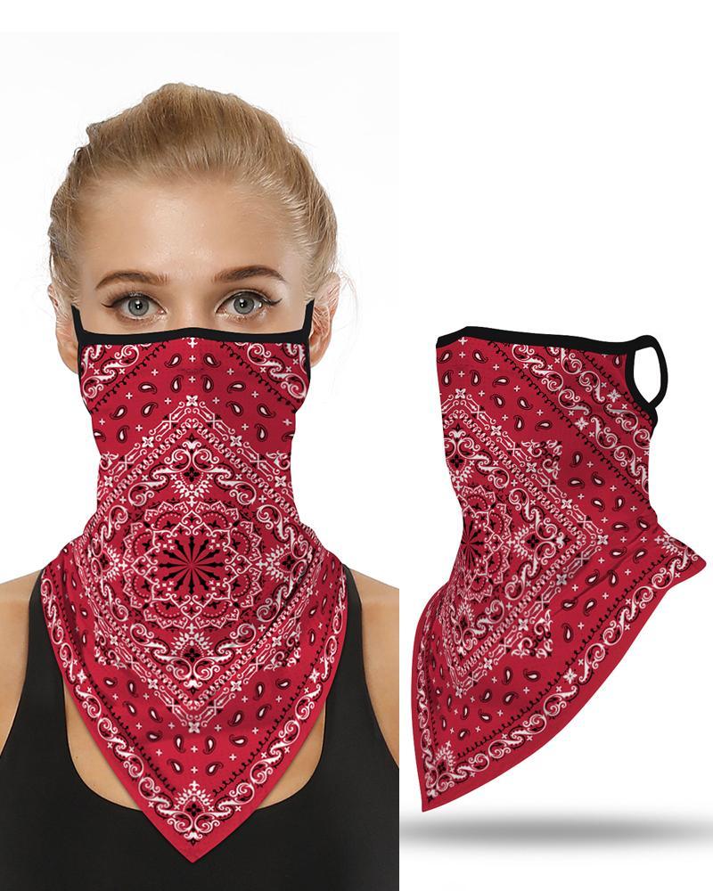 Print Breathable Ear Loop Face Cover Bandana Windproof Dust Outdoors