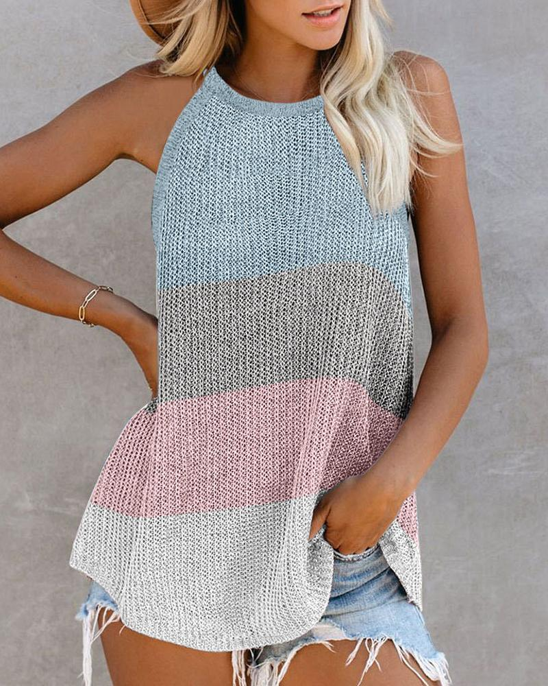 Colorblock Knitted Sleeveless Top, boutiquefeel, Light Blue  - buy with discount