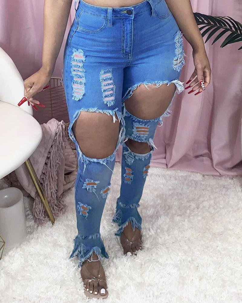 Ladder Cutout Fringe Hem Distressed Jeans thumbnail