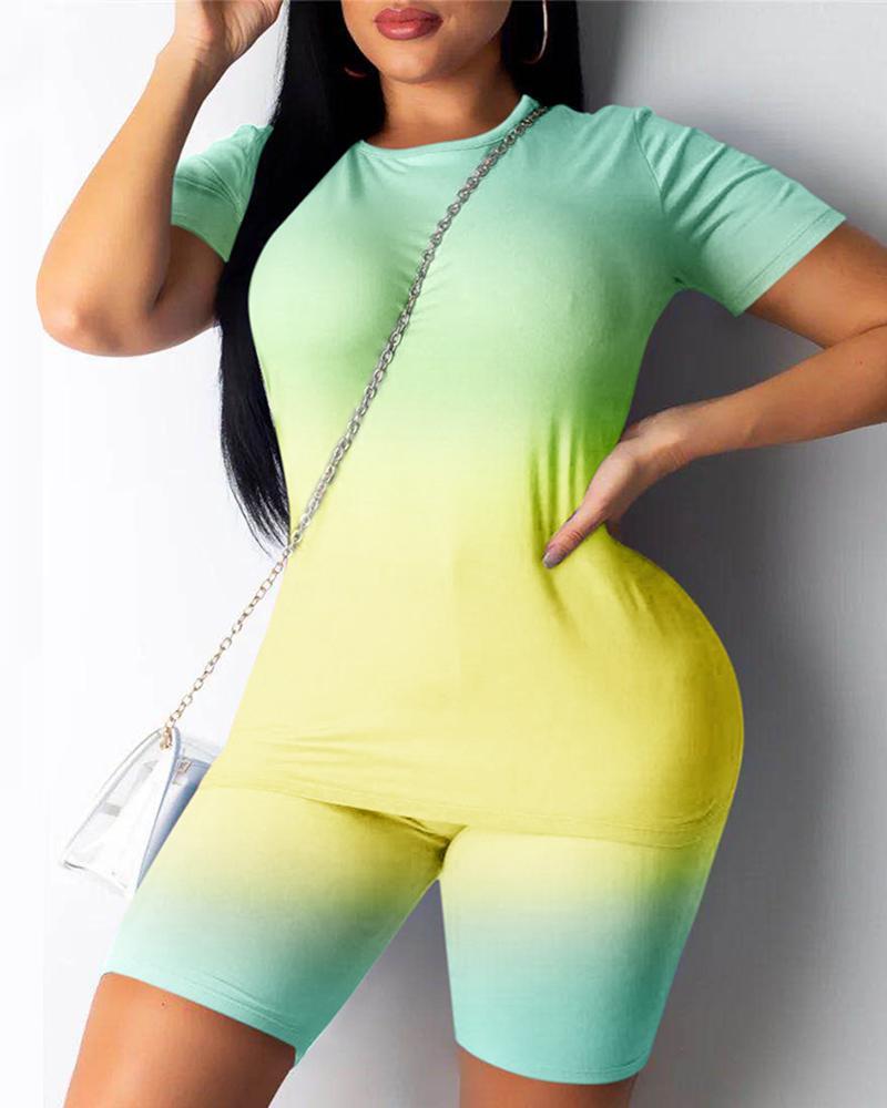 Tie Dye Print Short Sleeve T-shirt & Shorts Set thumbnail