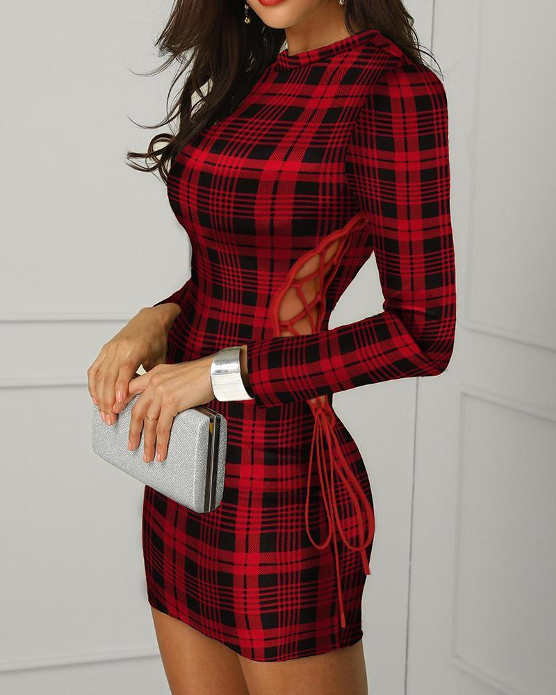 Lace Up Plaid Print Cutout Bodycon Dress