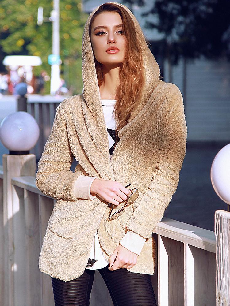 Ivrose coupon: Fluffy Pocket Design Hooded Oversized Coat