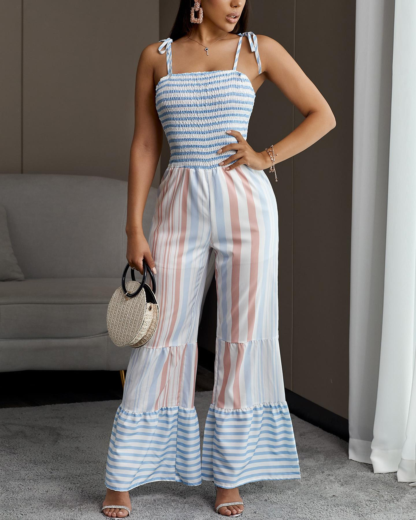Tied Strap Striped Shirring Bell-Bottom Jumpsuit thumbnail