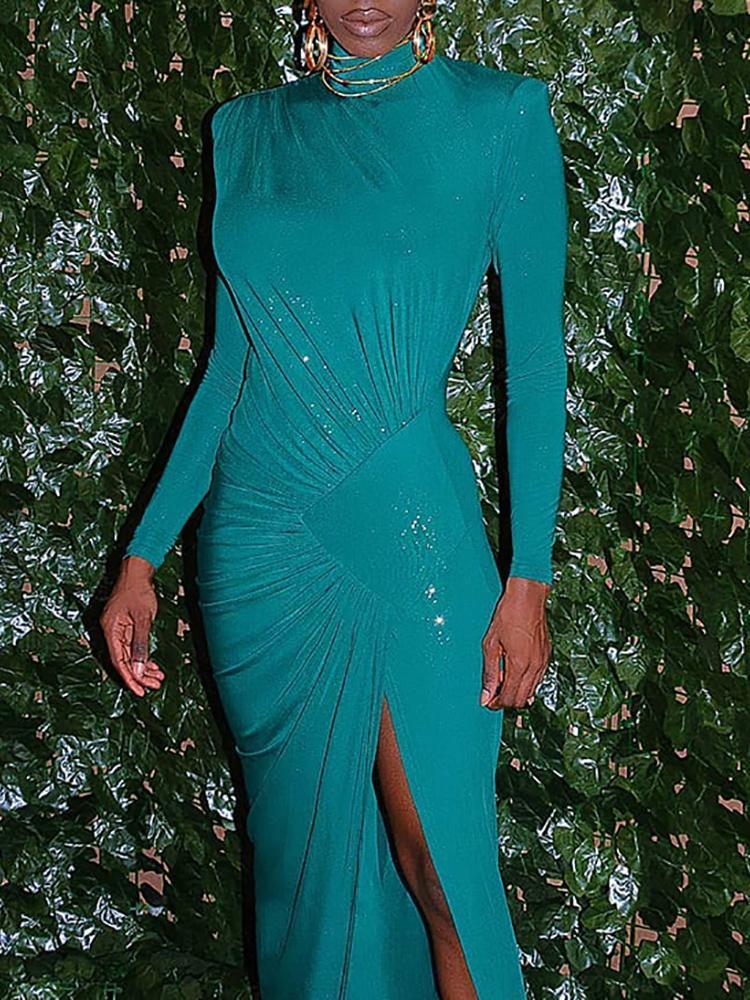 boutiquefeel / Glitter Ruched Design Thigh Slit Evening Dress