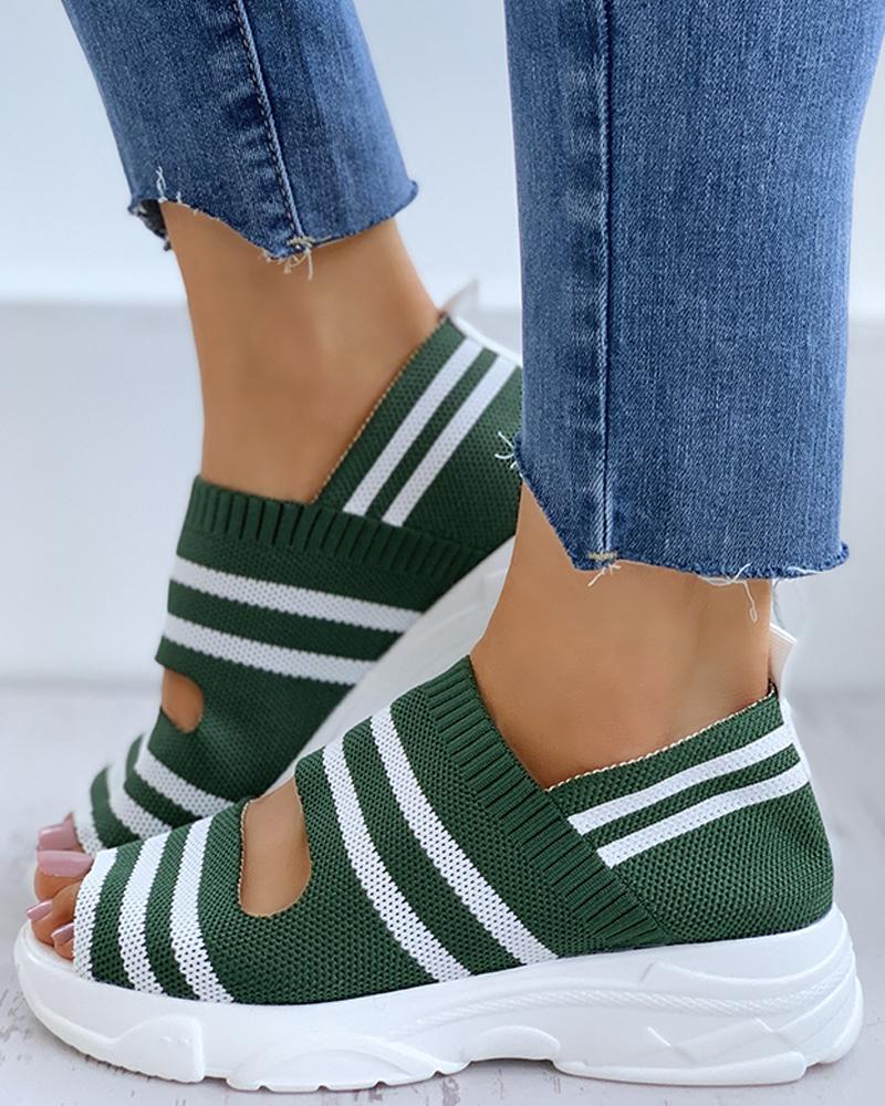 Striped Colorblock Peep Toe Wedge Heeled Sandals thumbnail