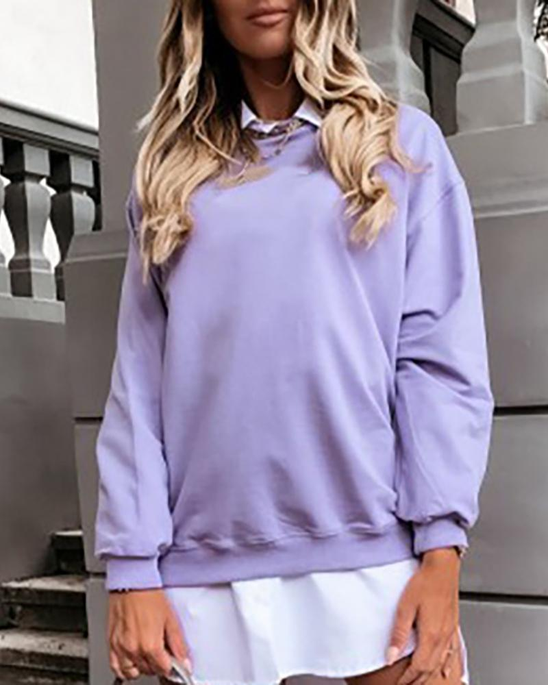 Long Sleeve Solid Casual Sweatshirt thumbnail