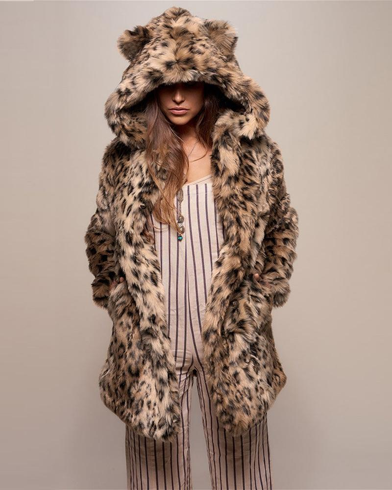 Cheetah Print Faux Fur Hooded Coat