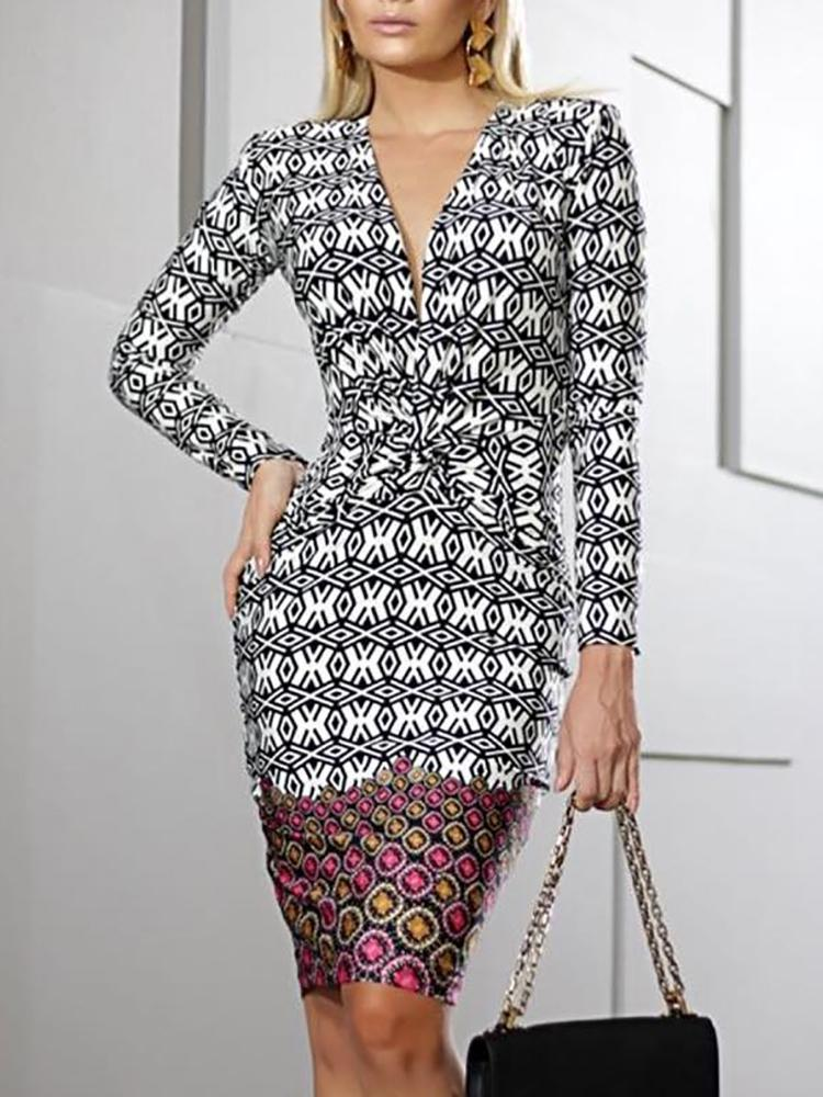 Geo Print Twist Front Long Sleeve Dress