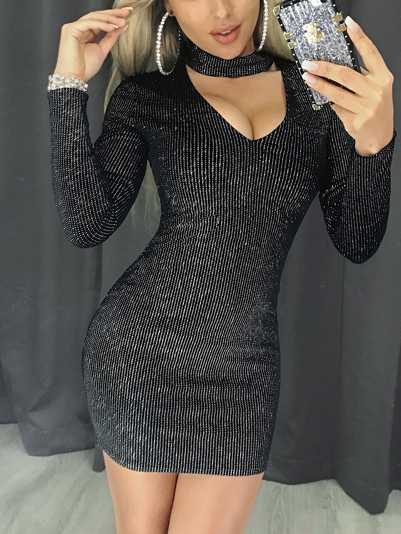 Glitter Long Sleeve Choker Bodycon Dress