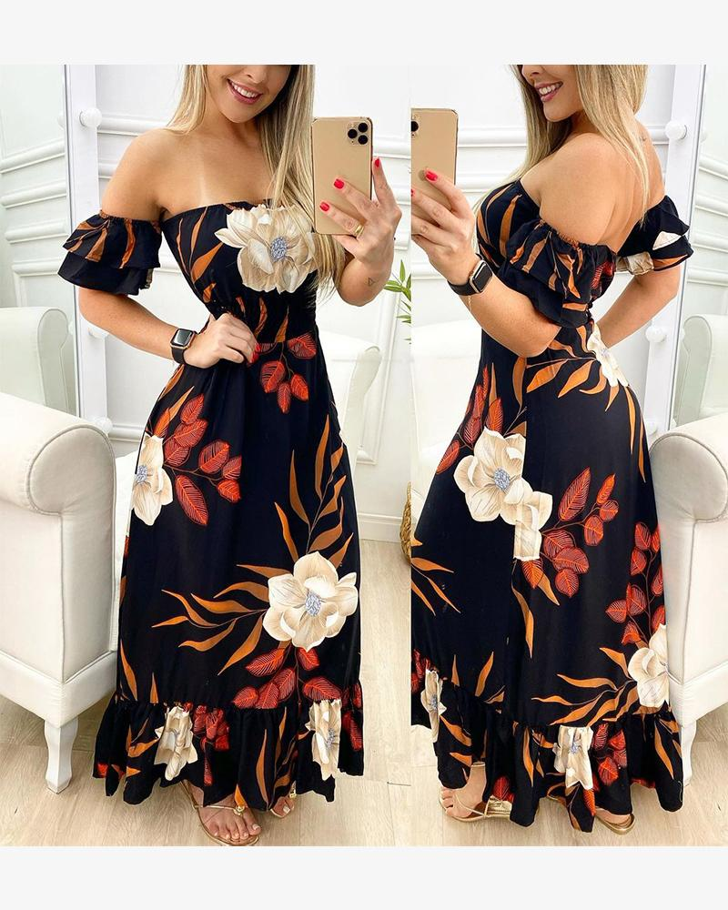 Floral Print Off Shoulder Short Sleeve Ruffle Hem Maxi Dress, Black