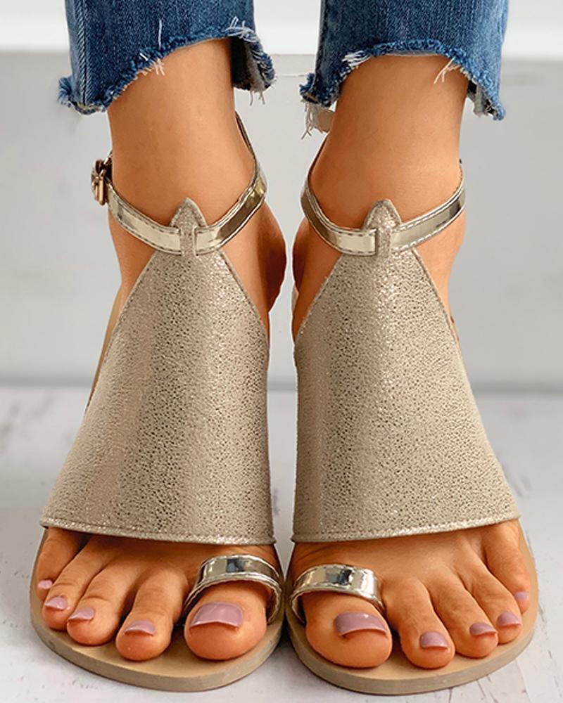 Glitter Toe Ring Anke Strap Flat Sandals thumbnail