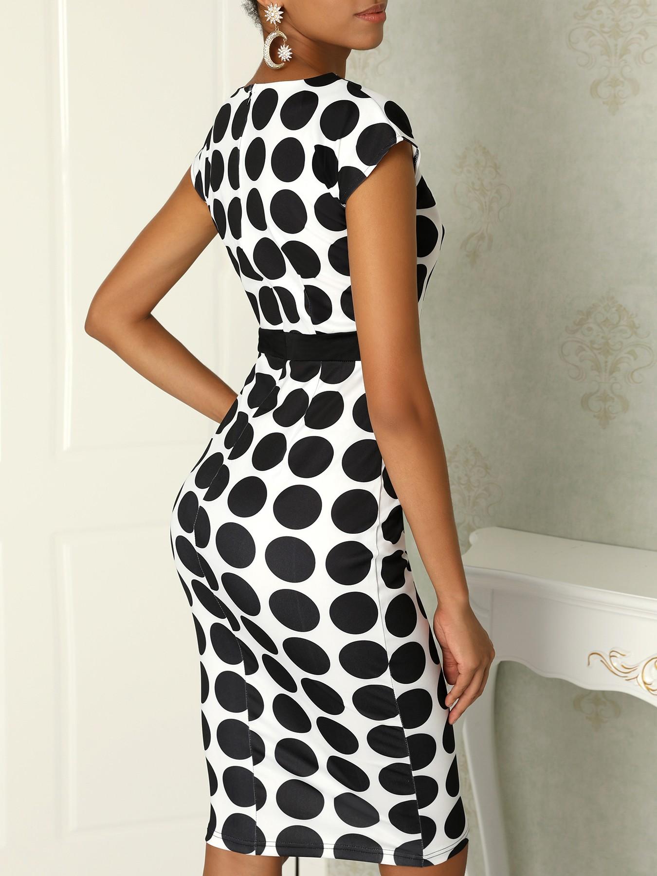 boutiquefeel / Formal Polka Dot Print V Neck Sheath Dress