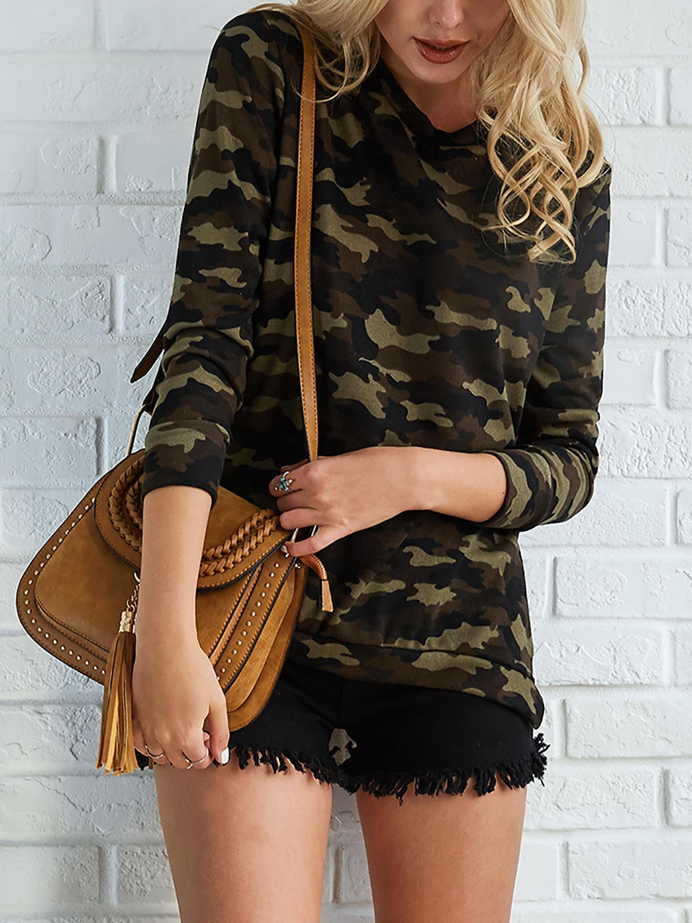Ivrose coupon: Stylish Camouflage Print Flannel Top