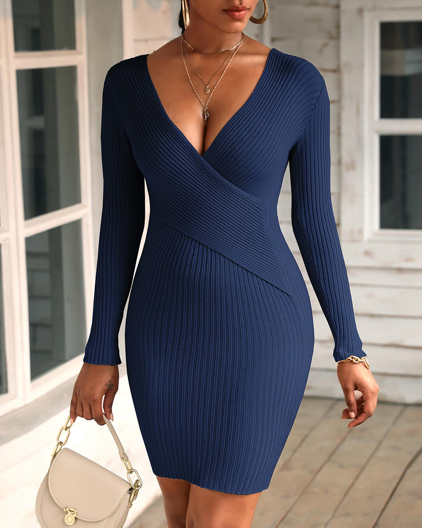 Solid Long Sleeve Knit Bodycon Dress thumbnail