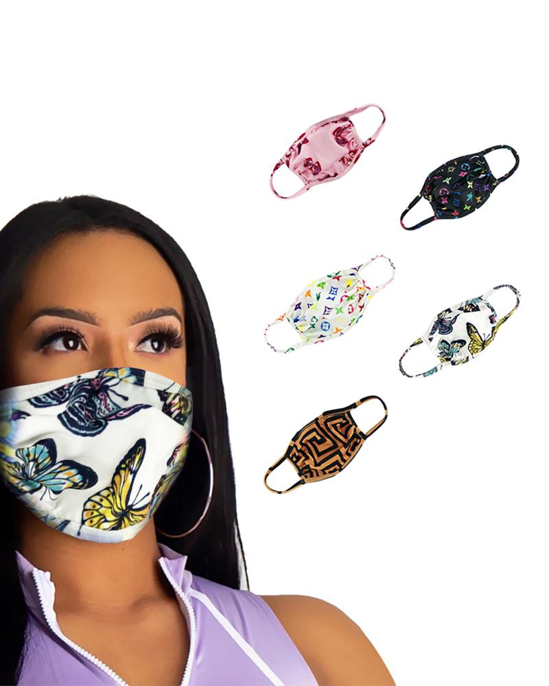 Butterfly / Mixed Print Colorblock Ear Loop Breathable Mouth Mask thumbnail