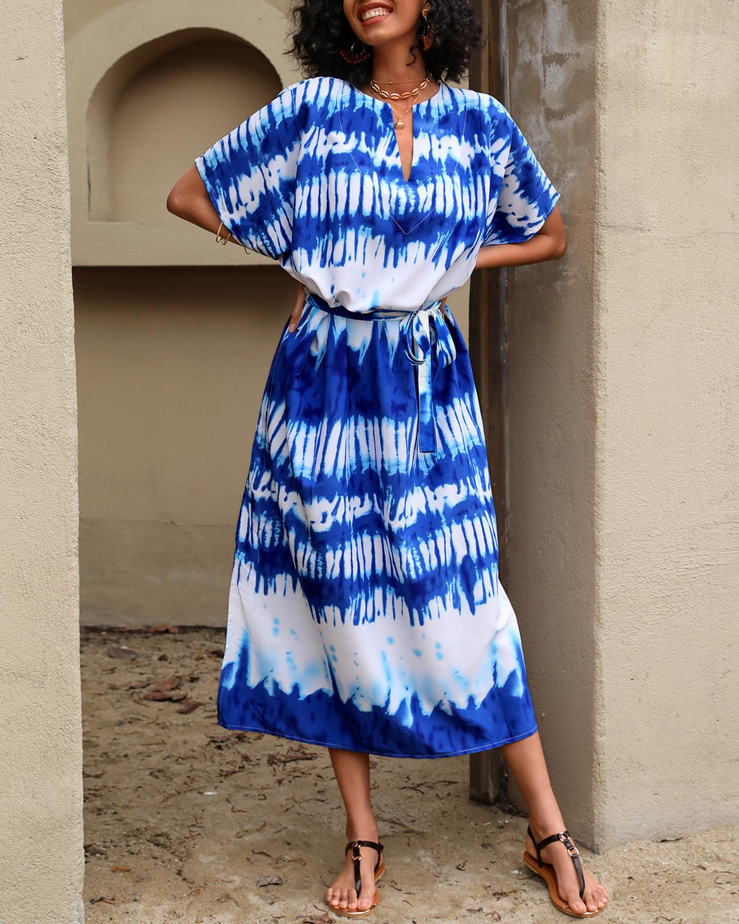 Tie Dye Print Tied Detail Cover Up Dress