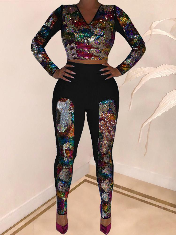 boutiquefeel / Colorful Sequin Long Sleeve Top & Pants Set