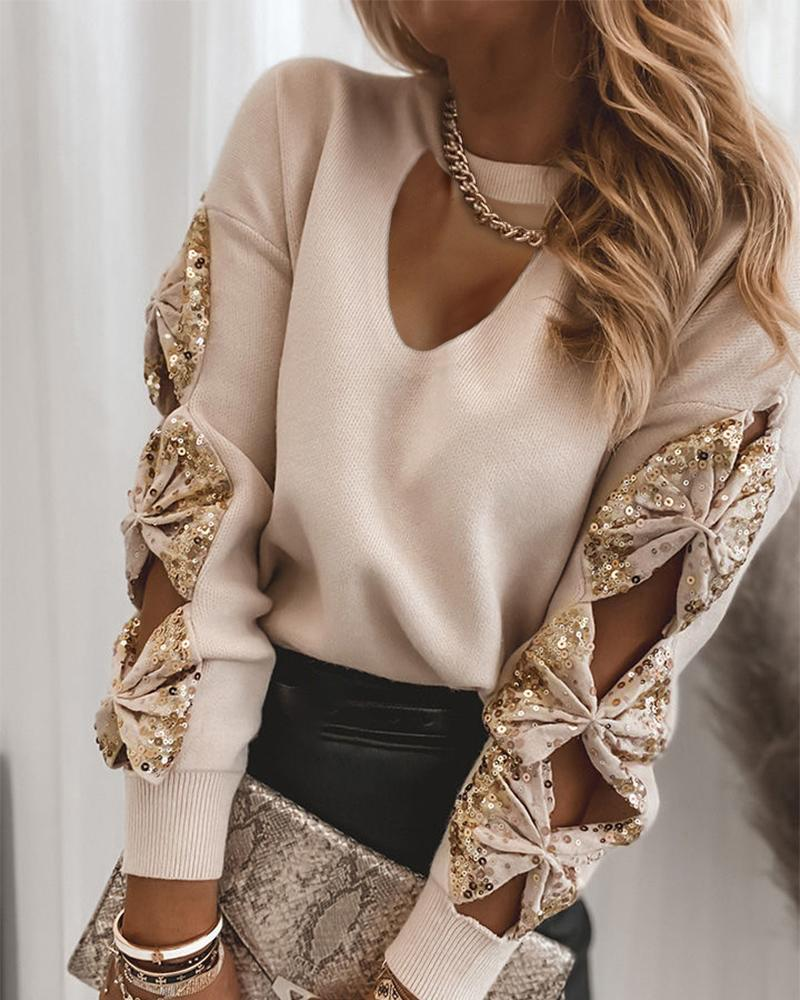 Cutout Sequin Bowknot Long Sleeve Sweater