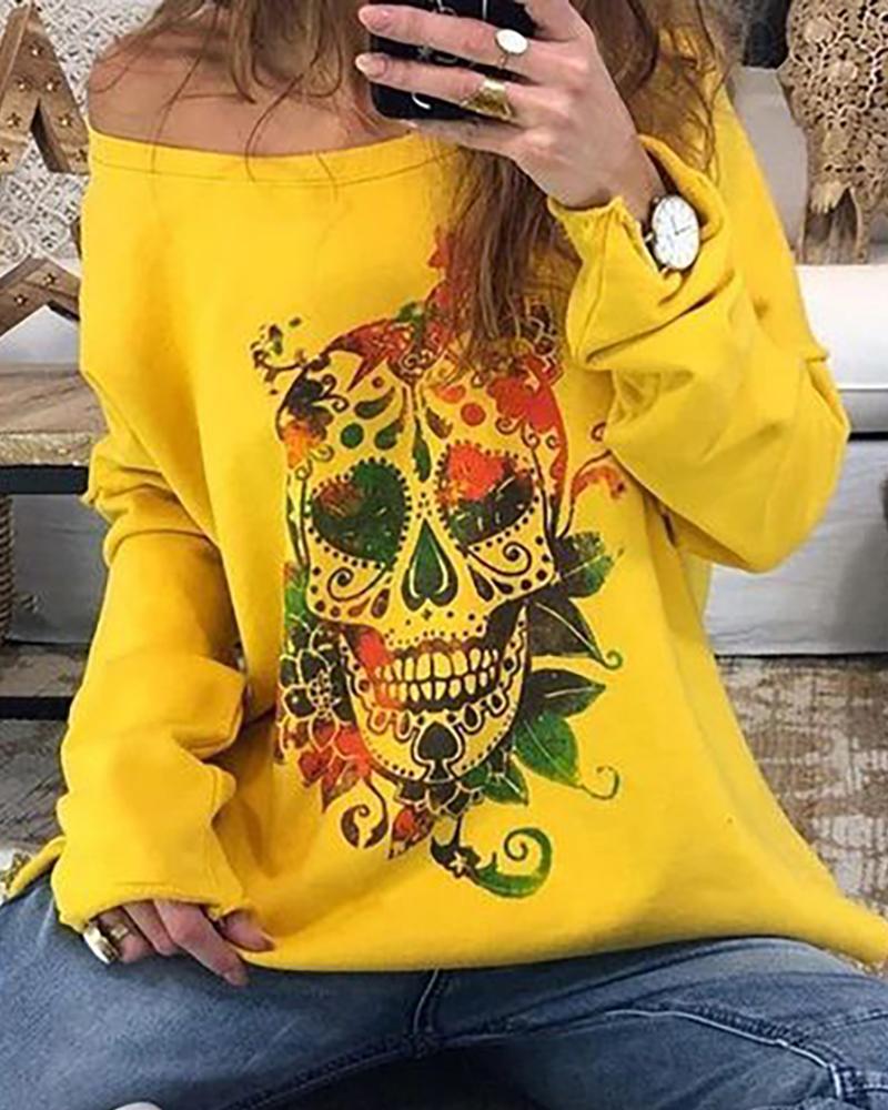 Skull Floral Print  Long Sleeve Casual Sweatshirt thumbnail