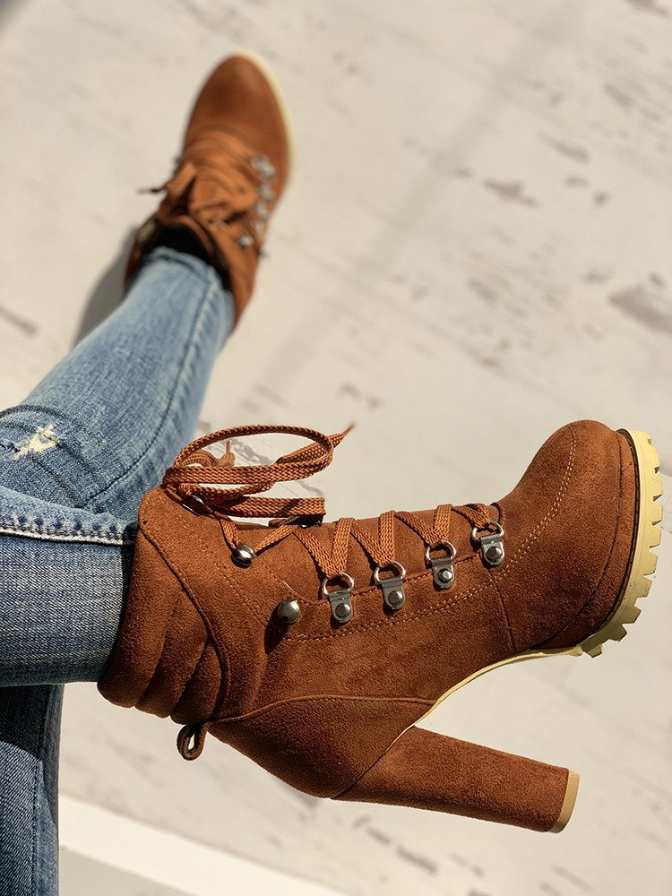 boutiquefeel / Platform Lace-Up Chunky Heeled Boots