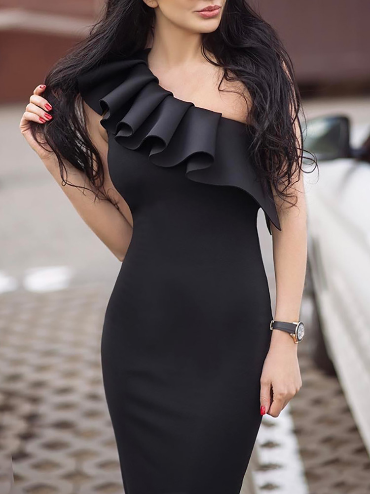 One Shoulder Ruffles Design Bodycon Dress