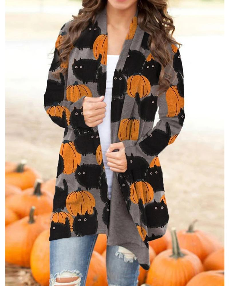 Halloween Pumpkin Cat Print Long Sleeve Cardigan thumbnail