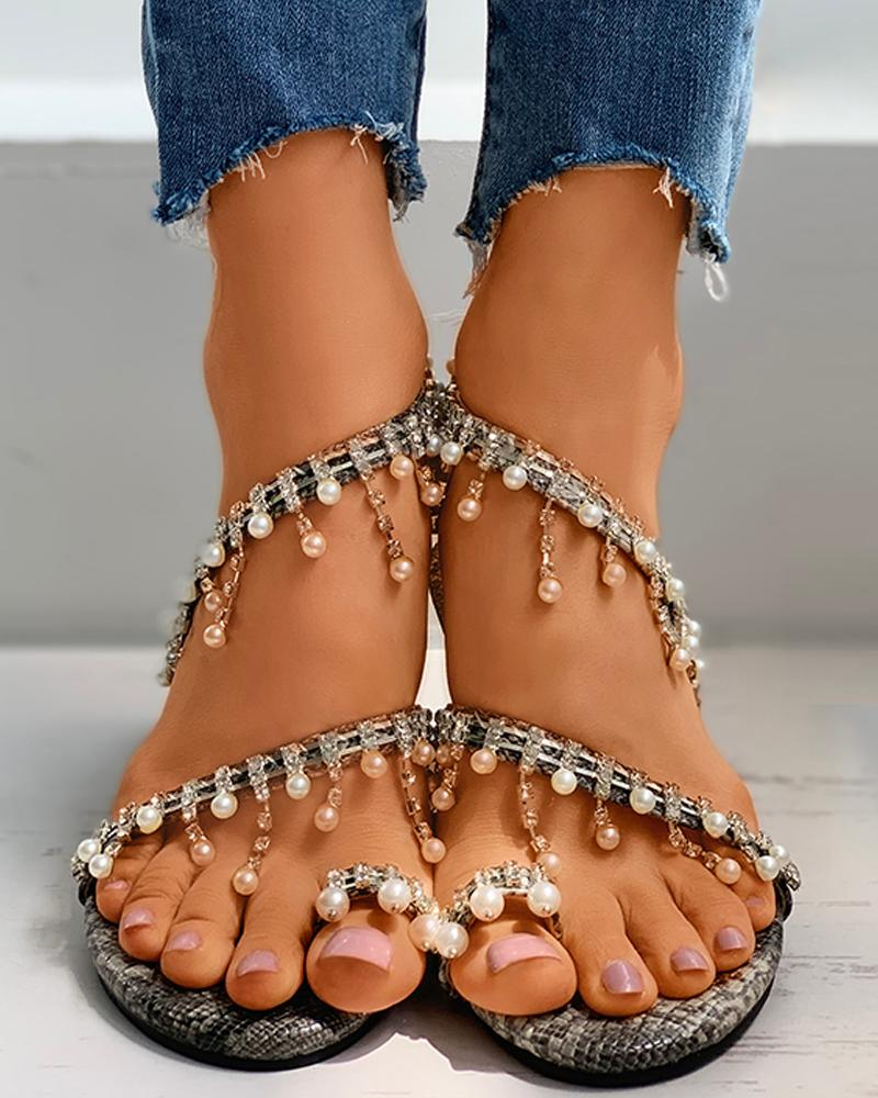 Snakeskin Diamante Beaded Toe Ring Flat Sandals thumbnail