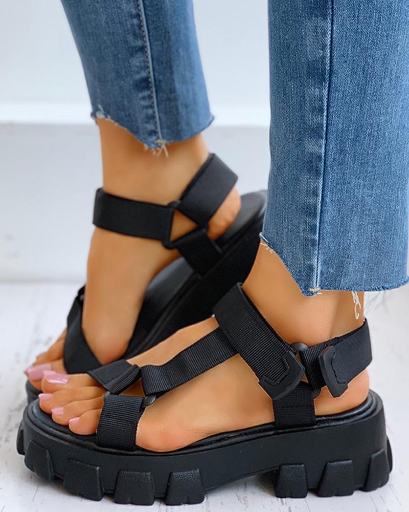 Solid Velcro Flatform Sandals thumbnail