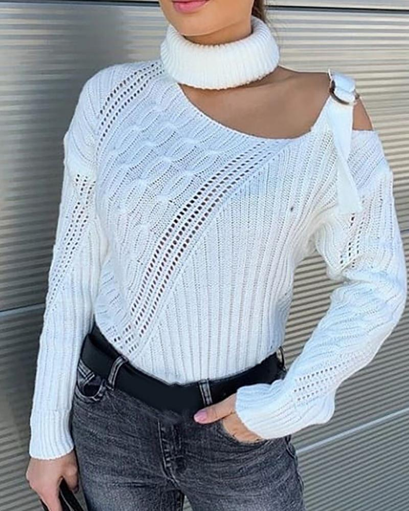 One Shoulder Buckled Knit Hollow Out Sweater thumbnail