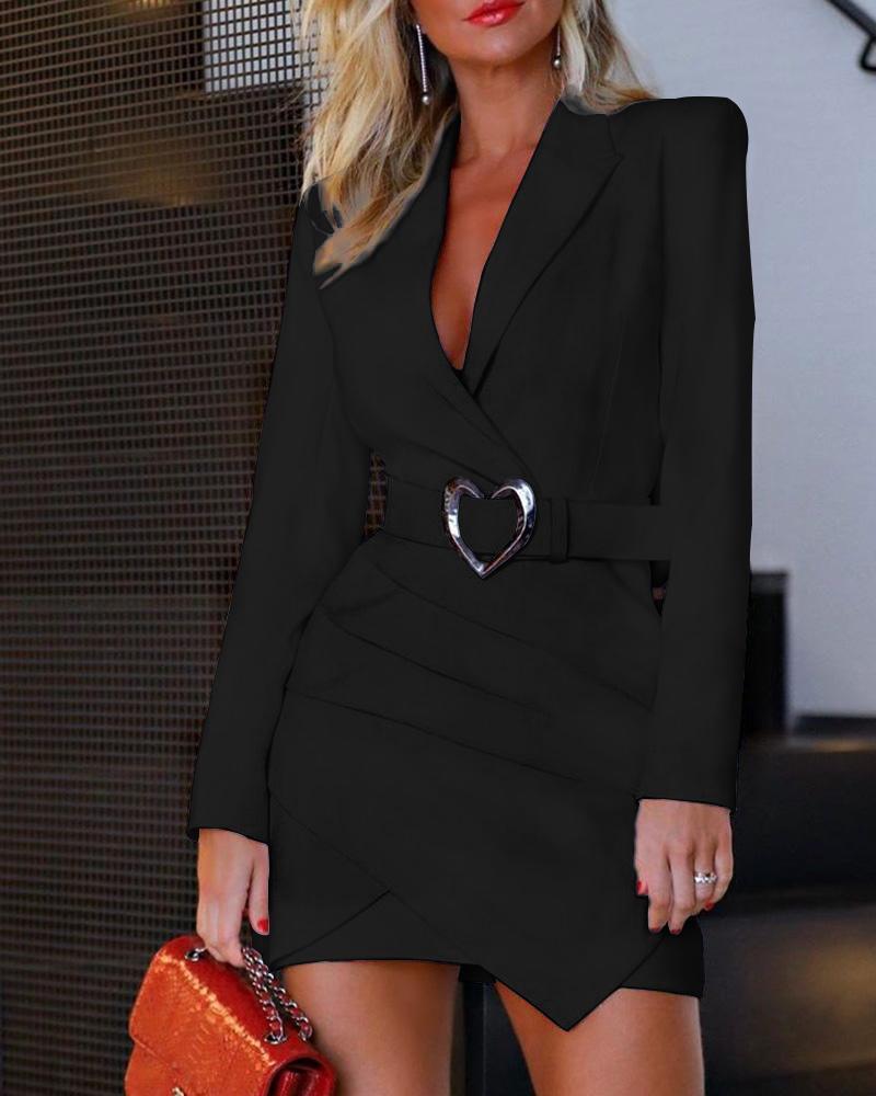 Padded Shoulder Long Sleeve Ruched Blazer Dress thumbnail