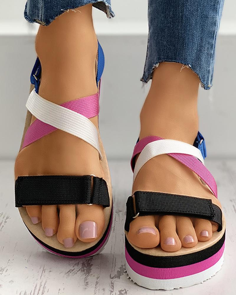 Colorblock Velcro Slingback Platform Sandals thumbnail
