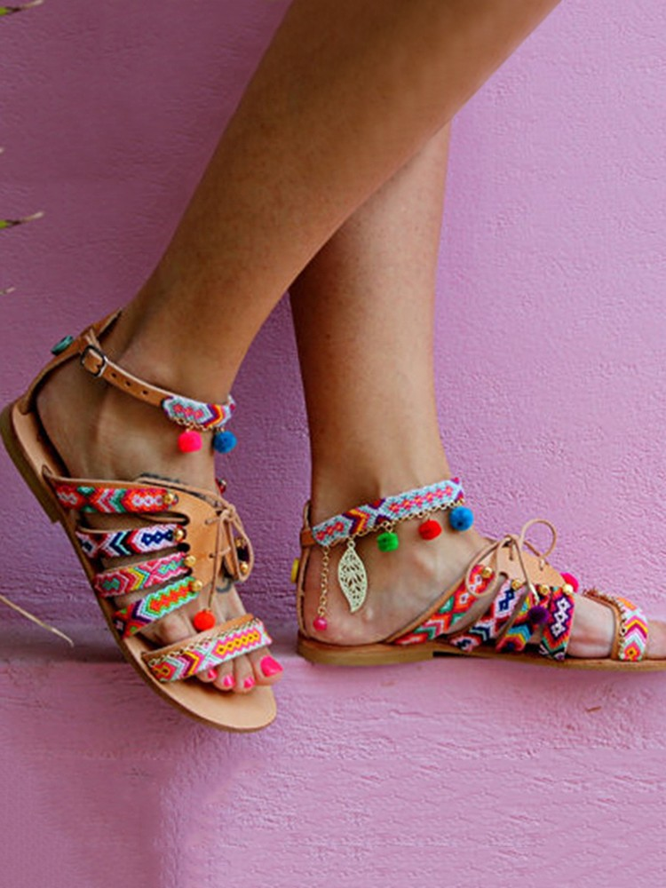 3fb3480a55 boutiquefeel   Ethnic Style Pom Pom Lace-up Casual Flat Sandals
