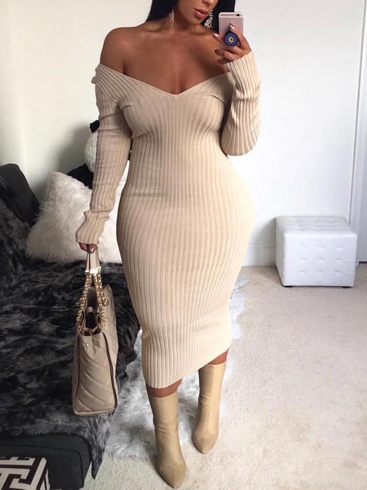 Off Shoulder Long Sleeve Maxi Bodycon Dress