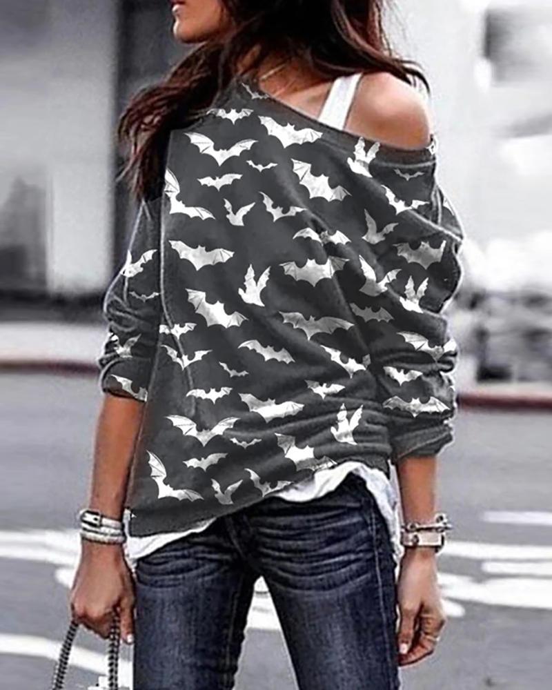 One Shoulder Halloween Bat Print Cozy Sweatshirt thumbnail