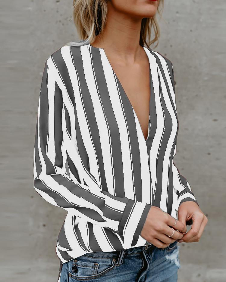 Joyshoetique coupon: Stripes Deep V Long Sleeve Casual Blouse