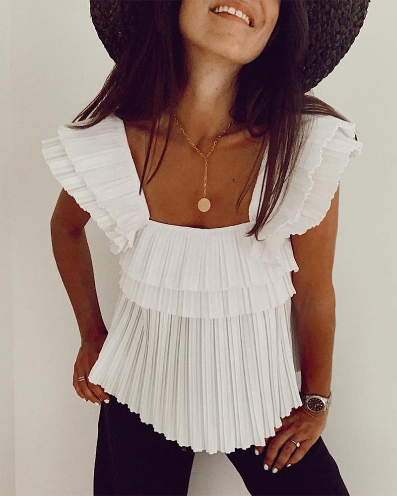 Solid Square Neck Pleated Top thumbnail