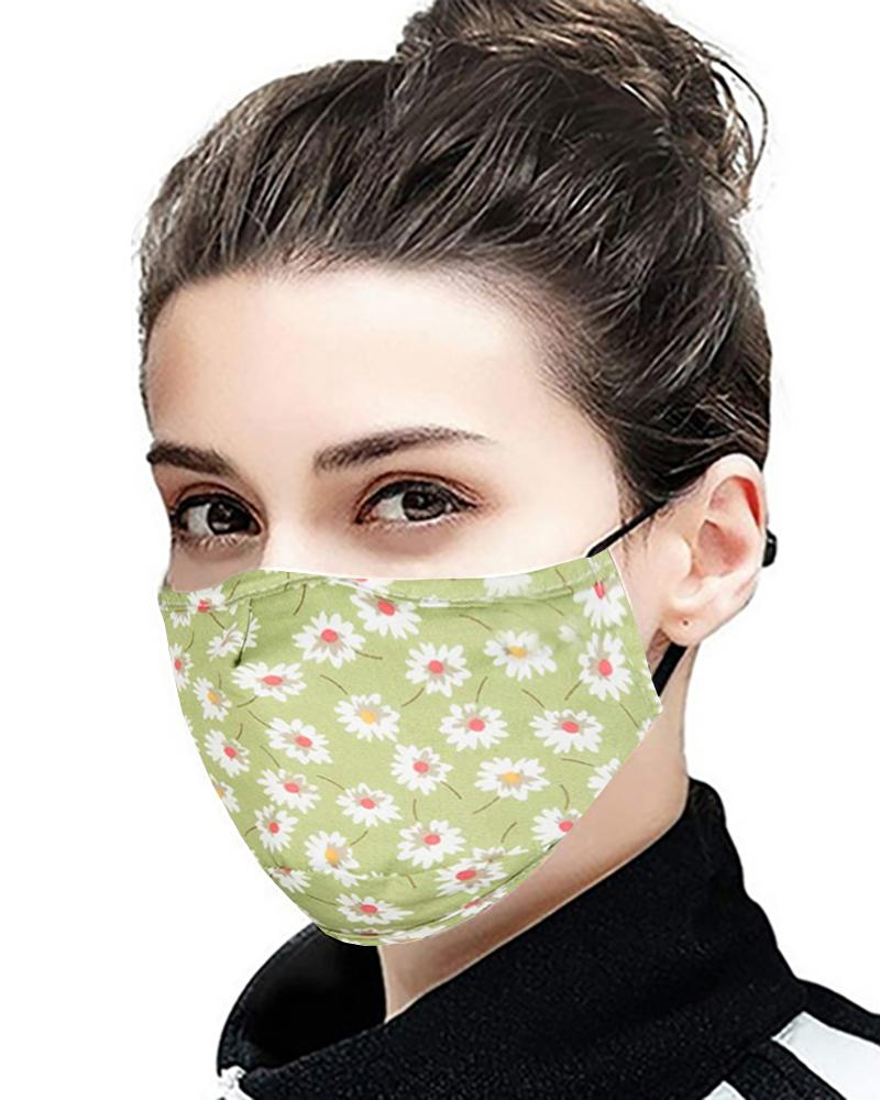 Daisy / Floral / Retro Print Ear Loop Breathable Mouth Mask With 4 Filters thumbnail