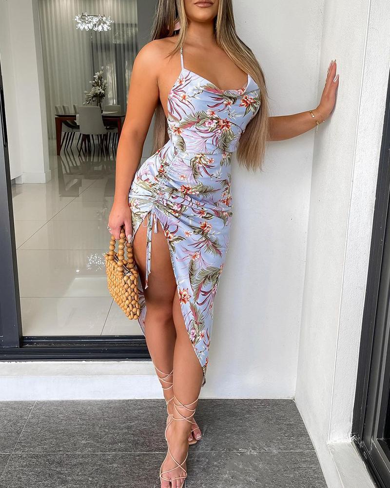 Tropical Print Ruched Drawstring Slit Dress
