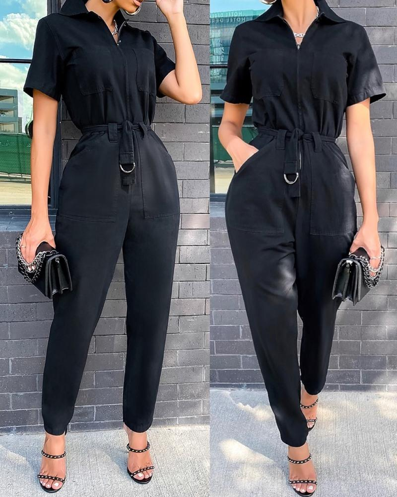 Pocket Design Short Sleeve Cargo Jumpsuit With Belt