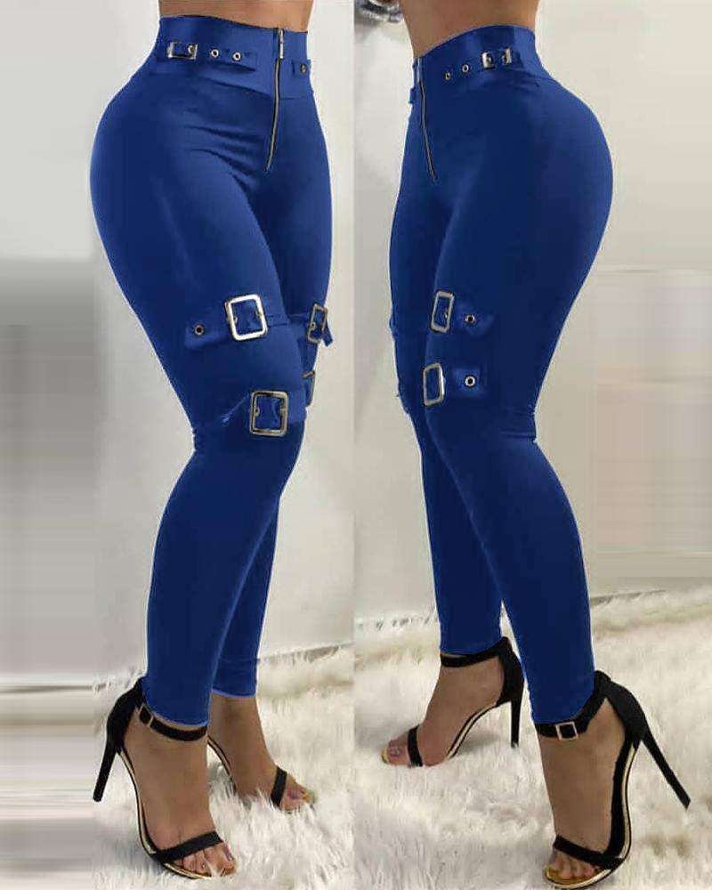 Zipper Front Eyelet Buckled High Waist Pants