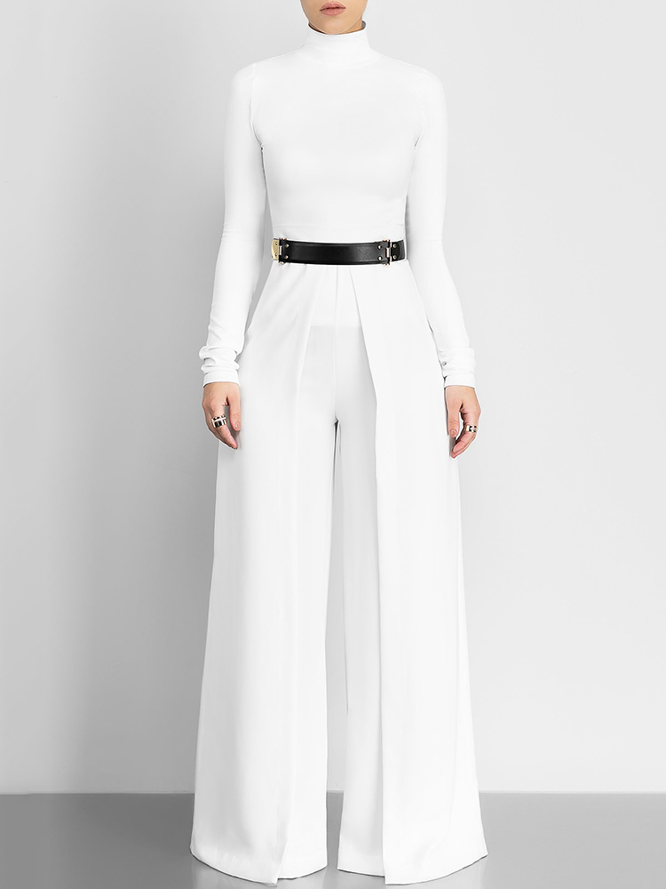 boutiquefeel / Women High Neck Wide Leg Jumpsuit