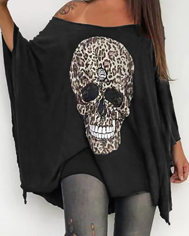 Skull Leopard Print Batwing Sleeve T-shirt thumbnail