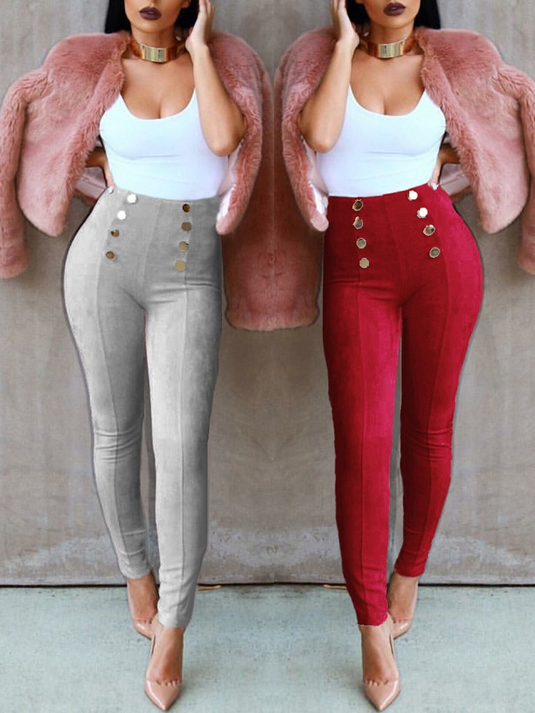 Fashion Women High Waist Button Suede Pants