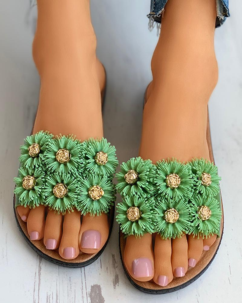 Floral Pattern Detail Open Toe Flat Slider Sandals thumbnail