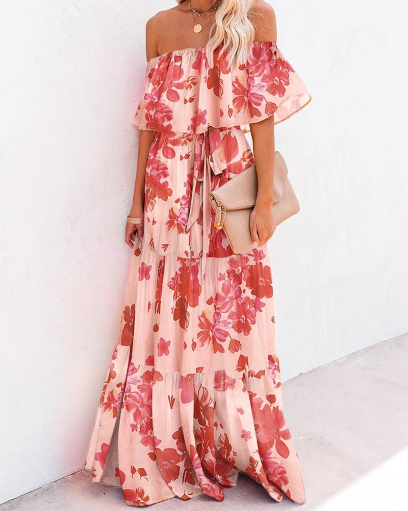 Floral Layered Sleeve Loose Maxi Dress, boutiquefeel  - buy with discount