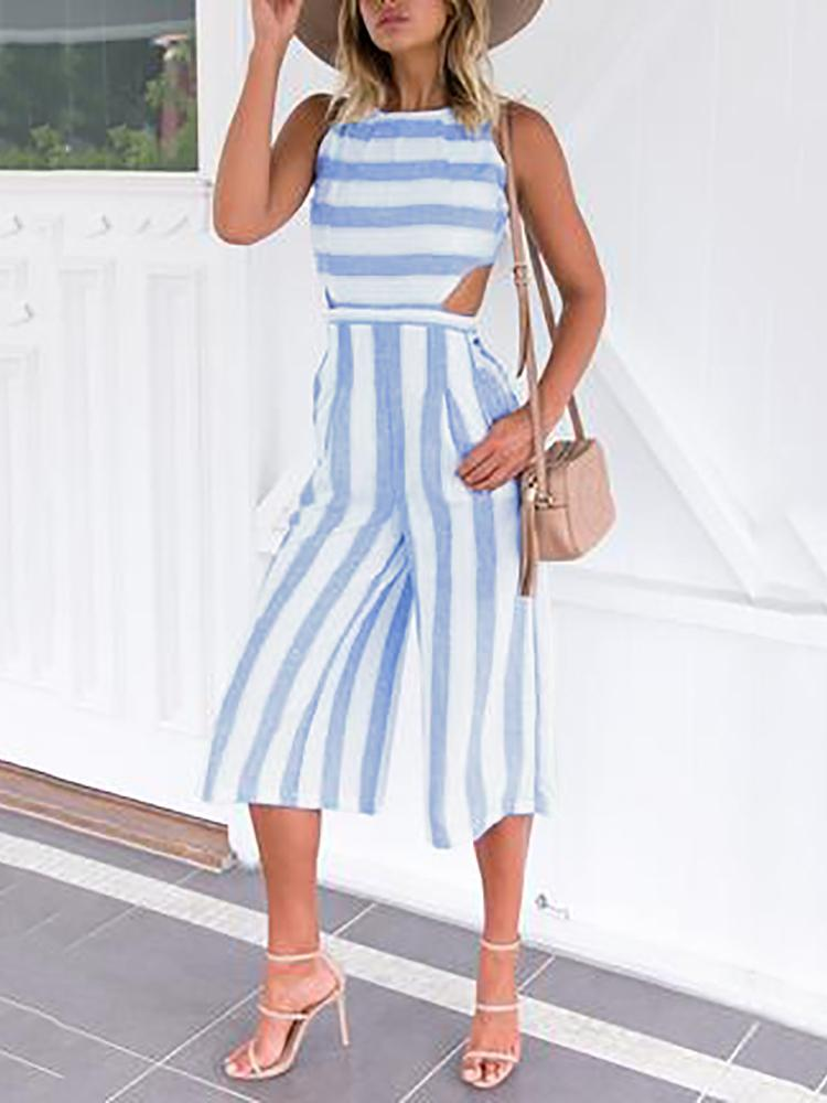 89af71b85cb7 Fashion Cut Out Striped Culotte Jumpsuit Online. Discover hottest trend  fashion at chicme.com
