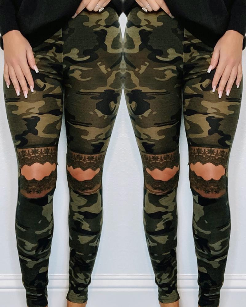 Camouflage Lace Insert Cut Out Casual Pants thumbnail