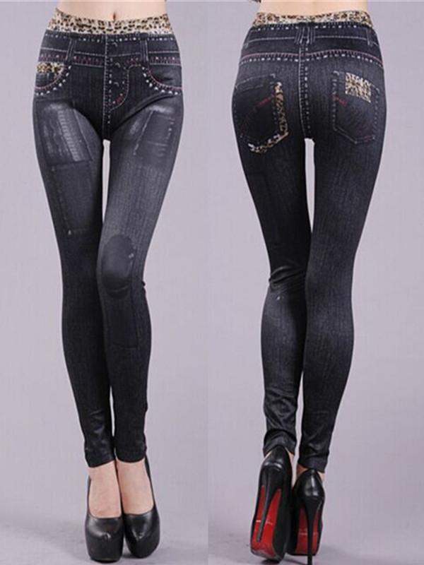 Women's Denim Look Patch Jeans Skinny Leggings Fashion Leopard Stretch Pants Trousers thumbnail